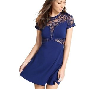 Express Navy Lace Cut Out Formal Party Dress